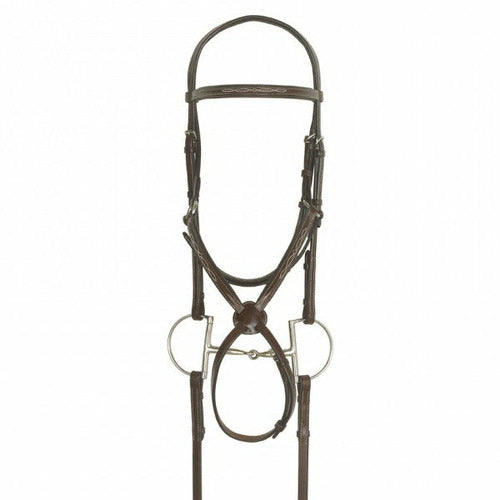Ovation Elite Collection- Fancy Raised Traditional Crown Padded Figure-8 Bridle with BioGrip Rubber Reins - CarouselHorseTack.com