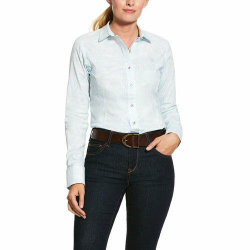 Ariat Ladies Toile Button Down Shirt - Duck Egg-CLOSEOUT