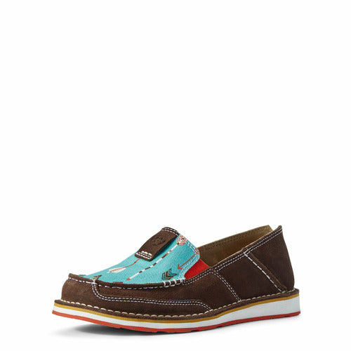 Ariat Ladies Cruiser Shoes - Chocolate Suede/Turquoise Arrows