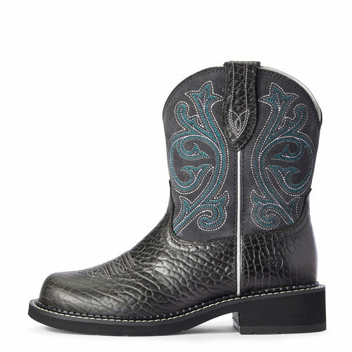Ariat Ladies Fatbaby Heritage Cowboy Boots - Black Bison/Dove Grey