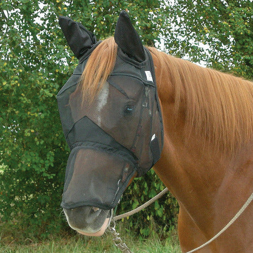 Cashel Quiet Ride Long Nose Fly Mask with Ears - CarouselHorseTack.com
