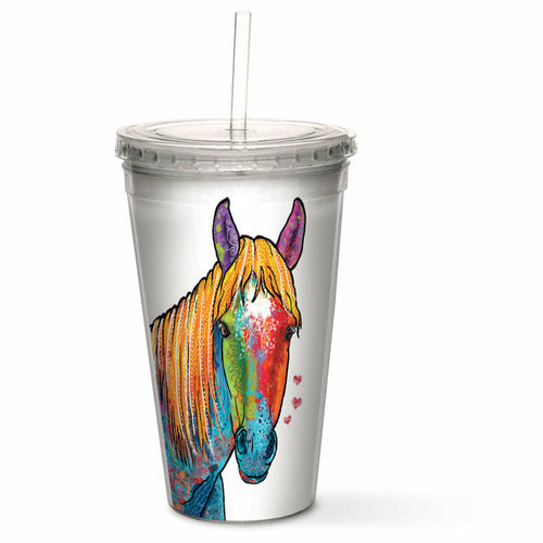 Artful Double Walled Cool Cup - Multicolor Horse - CarouselHorseTack.com