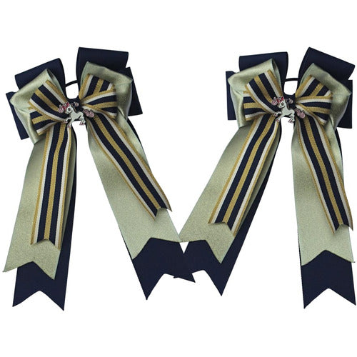 Belle and Bow Equestrian Horseshow Hair Bows - Blue and Gold - Bows