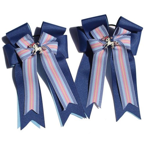 Belle and Bow Equestrian Horseshow Hair Bows - Blue Multi Stripe - Bows