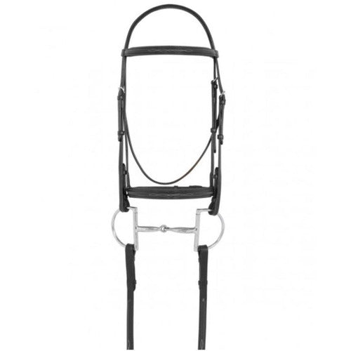 Camelot Fancy Raised Padded Bridle with Laced Reins - Horse / Black