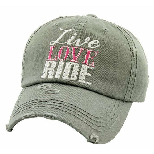 """Lila"" Live Love Ride Ladies Cap - Olive Green"
