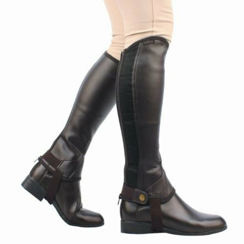 Saxon Childs Equileather Black Half Chaps - CarouselHorseTack.com