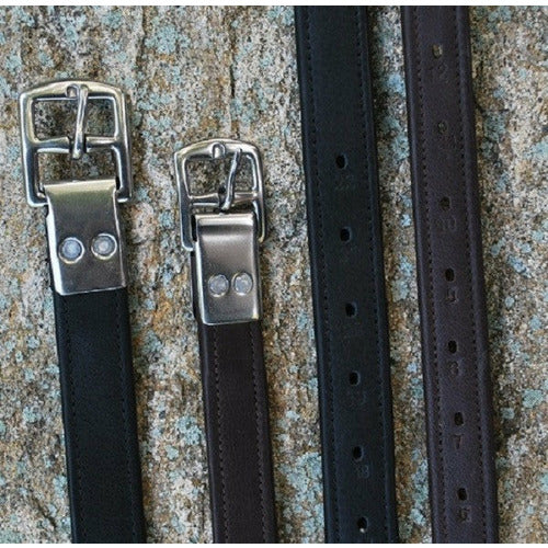 Black Oak Calf Lined Riveted Buckle Stirrup Leathers - CarouselHorseTack.com
