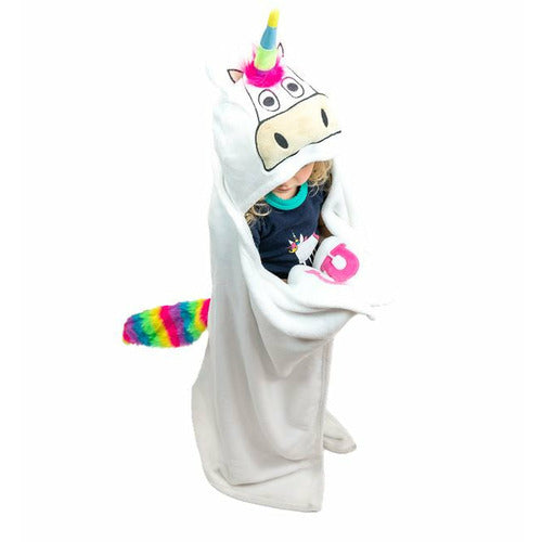 Lazy One Kids Hooded Unicorn Blanket