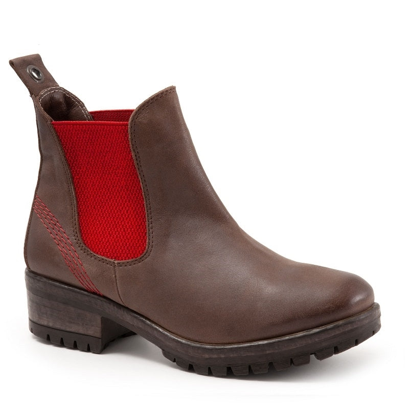 BROWN NUBUCK W/RED ELASTIC