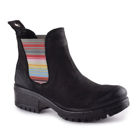 BLACK NUBUCK W/ STRIPED ELASTIC