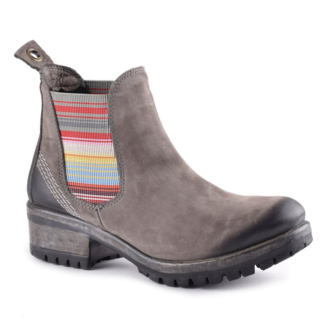 GREY NUBUCK W/ STRIPED ELASTIC