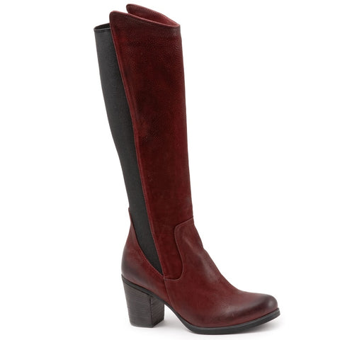 DARK RED TULIP NUBUCK W/ BLACK ELASTIC