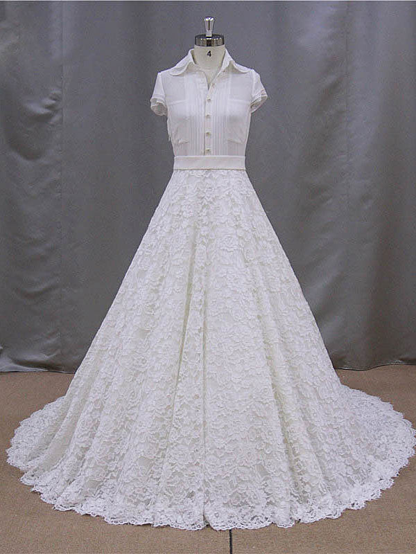 Retro Style Lace Wedding Dress With Short Sleeve Blouse Bb005