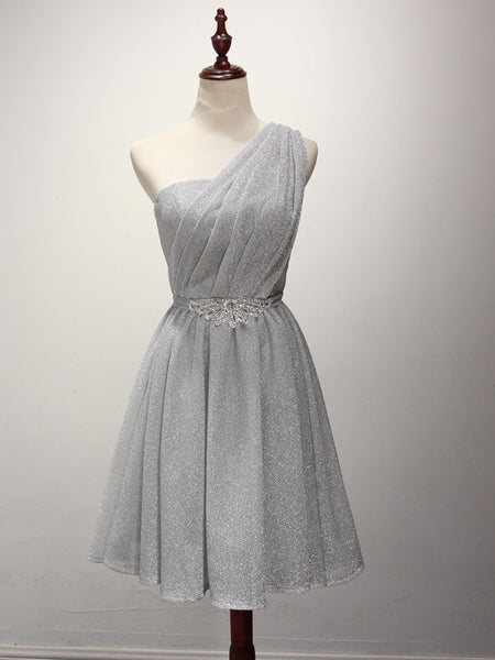 Silver Grecian One Shoulder Short Bridesmaid Dress