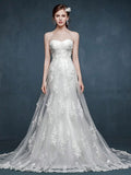 Whimsical Strapless Lace Wedding Dress