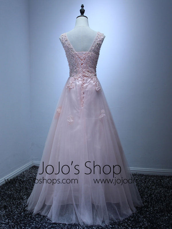 Pink V Neck Lace Floor Length Bridesmaid Dress