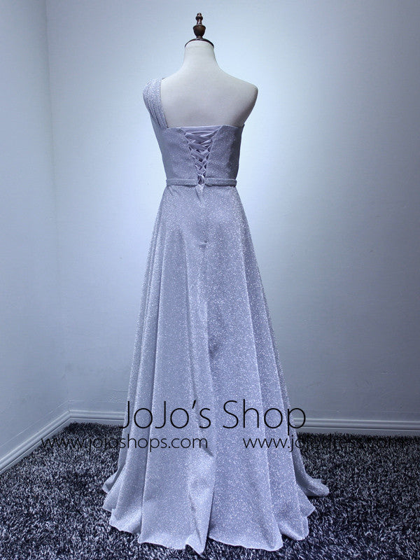 Gray One Shoulder Grecian Bridesmaid Dress
