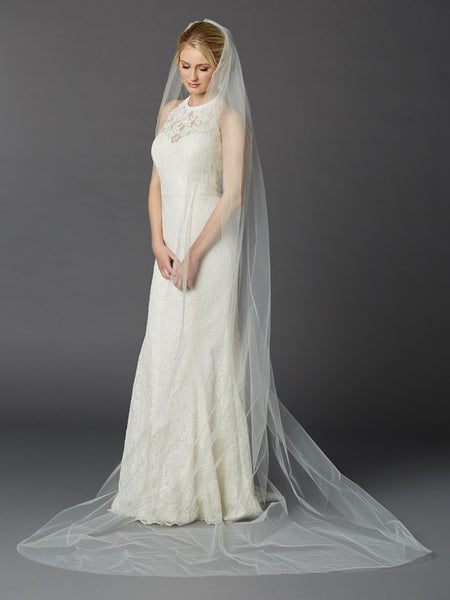 Simple Long Tulle Chapel Length  Wedding Veil
