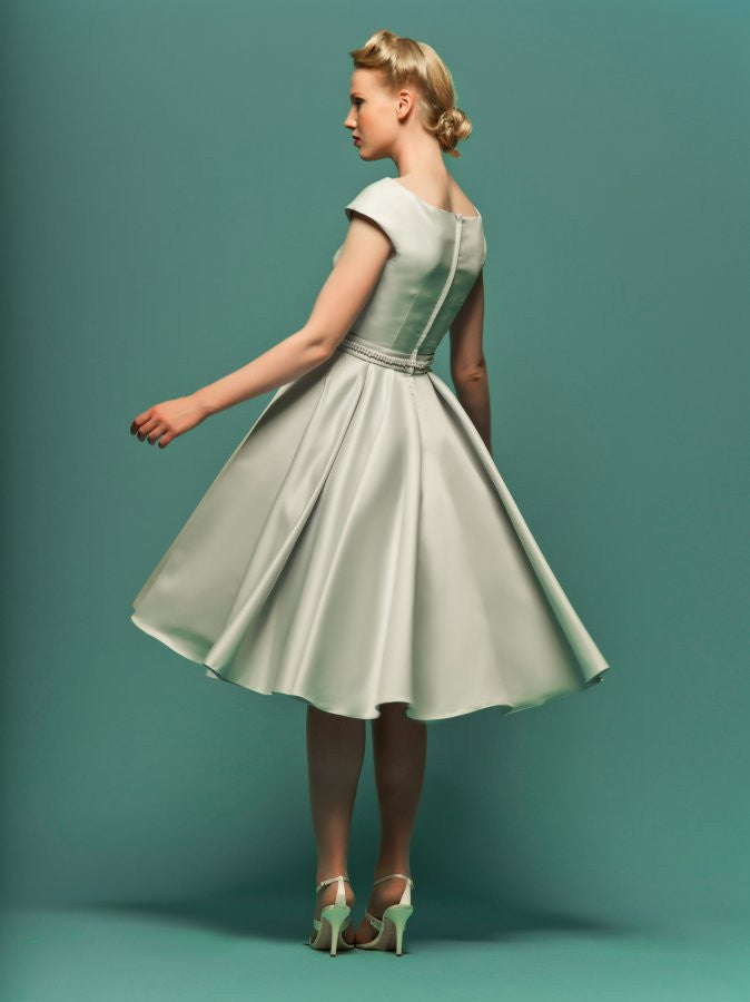 Retro Knee Length Modest Satin Wedding Dress with Short Sleeves