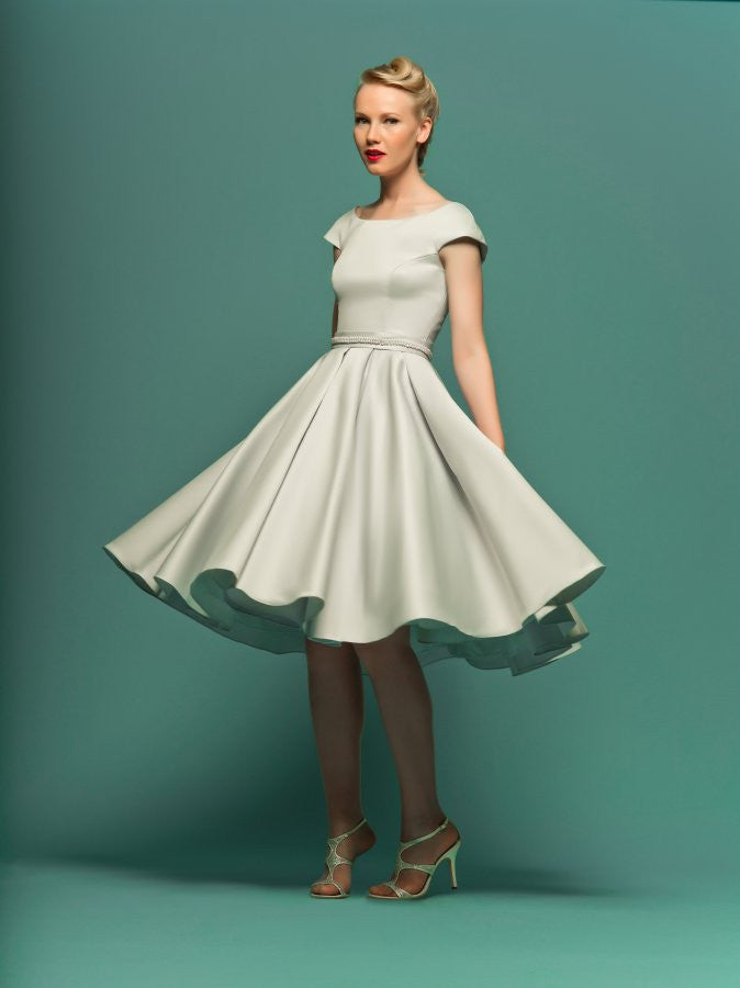 Retro Knee Length Modest Satin Wedding Dress with Short Sleeves ...