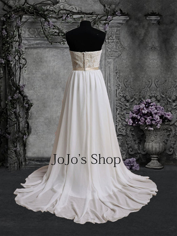 Strapless Champagne Lace Chiffon Wedding Dress | BS2002