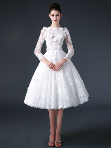 Short Knee Length Modest Lace Wedding Dress with Flowers