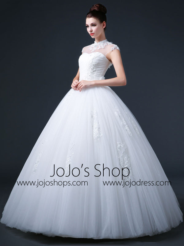 Ball Gown Wedding Dress with Mandarin Collar and Keyhole Back