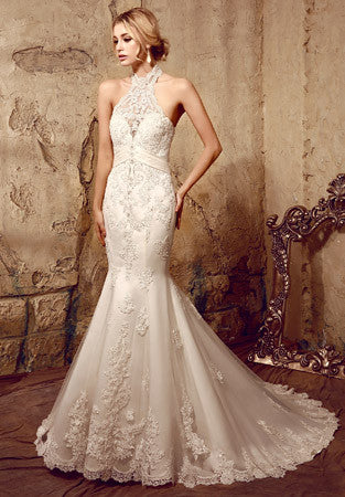 Halter Chantilly Lace Mermaid Wedding Dress | HL1002