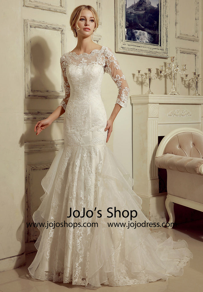 Long Sleeves Lace Fit And Flare Wedding Dress Hl1005