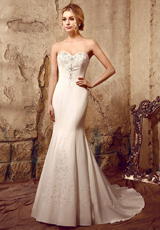 Jeweled Strapless Fit and Flare Wedding Dress | HL1006
