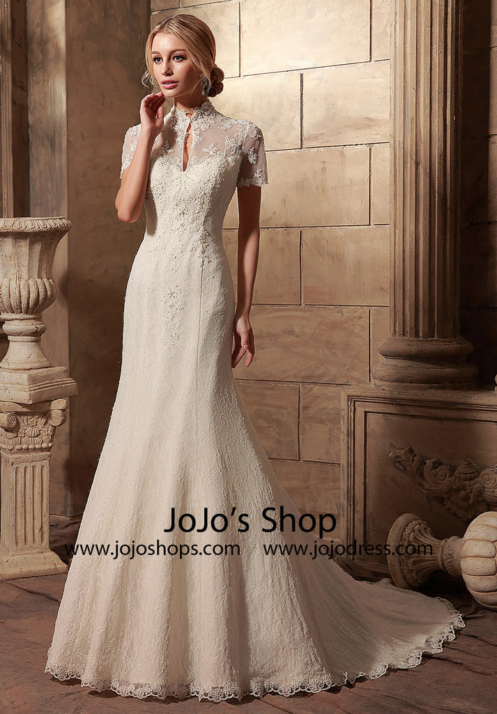Vintage Style Short Sleeves Lace Wedding Dress