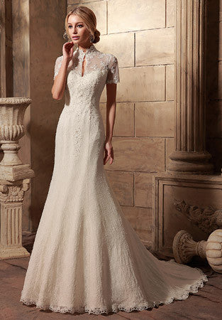 Vintage Style Short Sleeves Lace Wedding Dress | HL1007