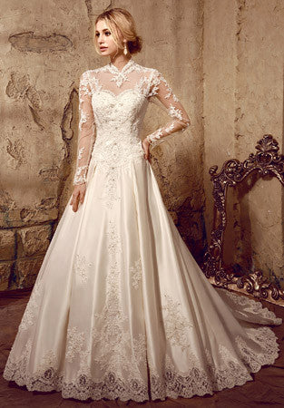 Long Sleeves Victorian Style Modest Lace Wedding Dress  HL8