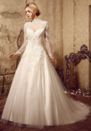 Modest Lace Ball Gown Wedding Dress with Long Sleeves | HL1010