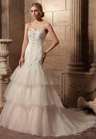 Strapless Fit and Flare Wedding Dress with Tiered Skirt | HL1015