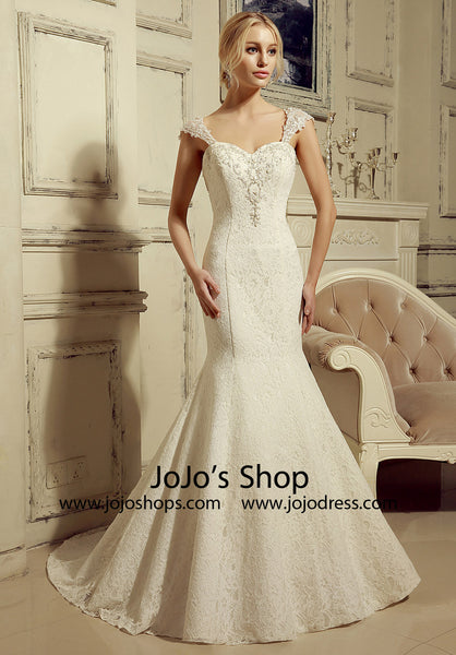 b0a9aa7e411d2 Vintage Inspired Lace Mermaid Wedding Dress with Cap Sleeves   HL1020 –  JoJo Shop