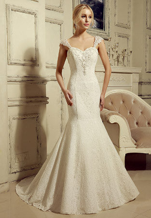 Vintage Inspired Lace Mermaid Wedding Dress with Cap Sleeves | HL1020