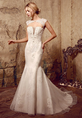 Open Keyhole Back Lace Mermaid Wedding Dress | HL1021