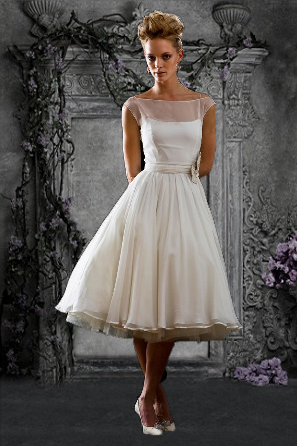 Retro Modest Chiffon Tea Length Wedding Dress Reception Dress