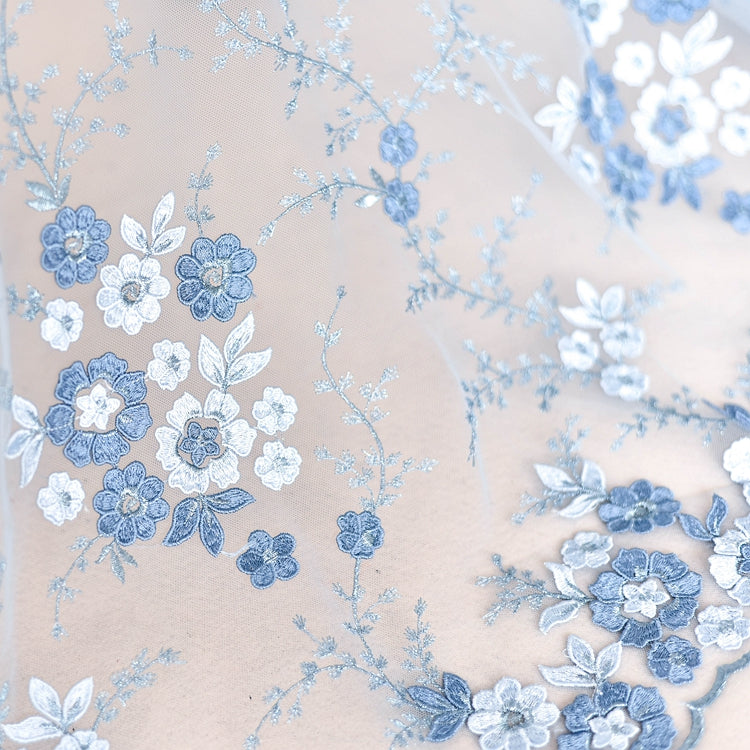 Blue Embroidered Floral Lace Fabric LC1002