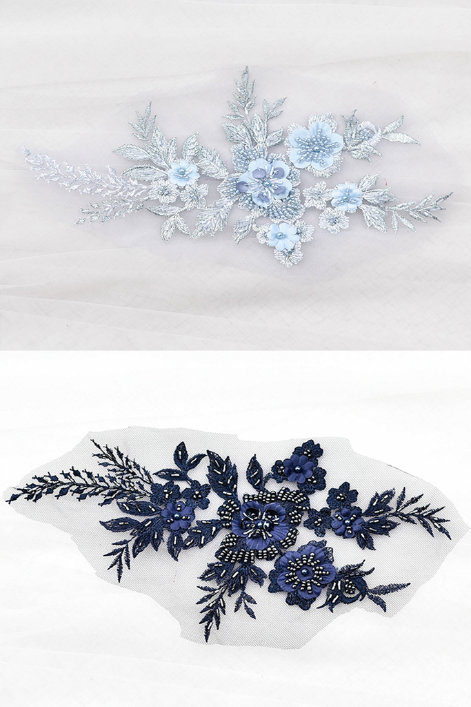 Navy Blue Floral Applique with Beadings LA1001