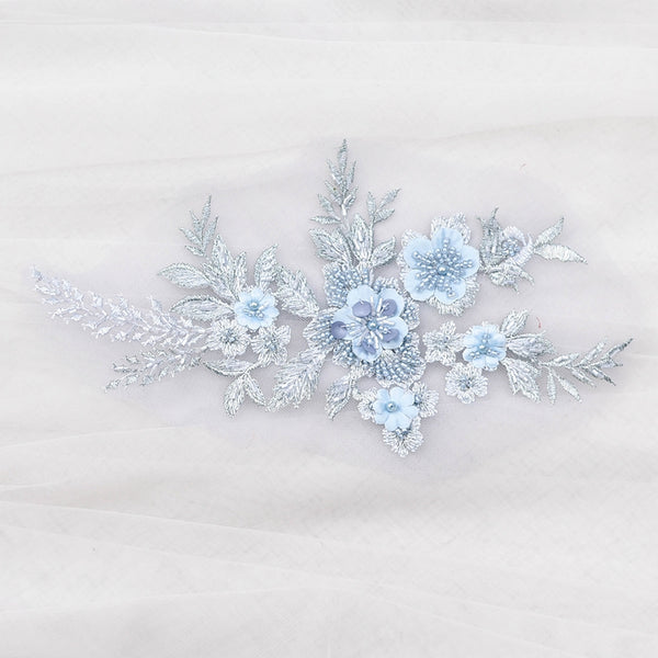 Light Blue Floral Applique with Beadings LA1001