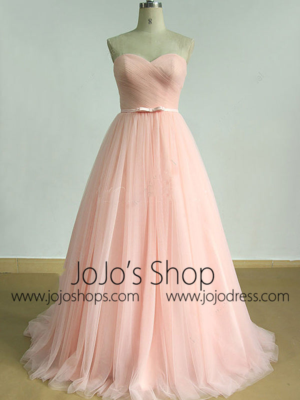 Princess Style Blush Pink Tulle Wedding Dress | EE3007