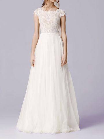 Boho Chiffon Lace Wedding Dress with Cap Sleeves