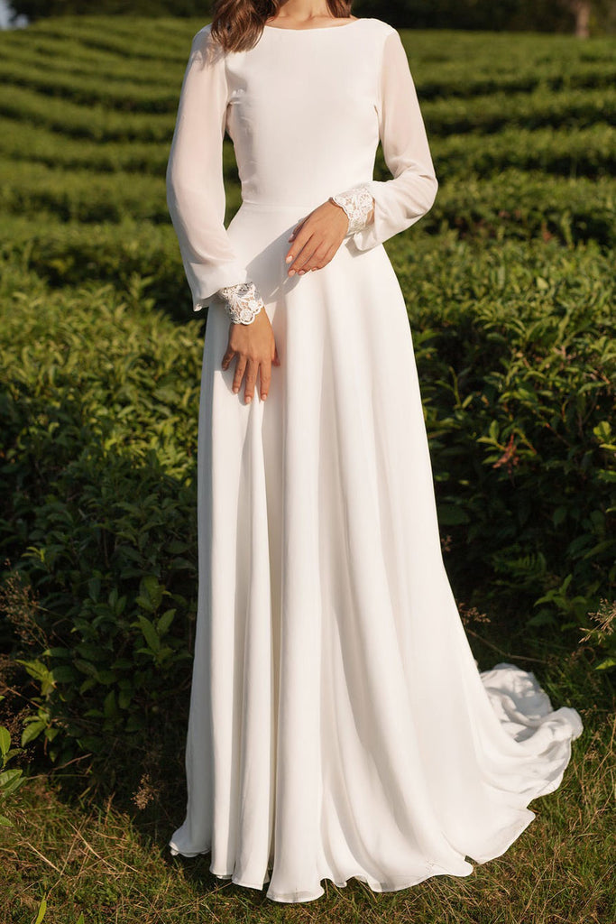 Boho Simple Crepe Wedding Dress with Sleeves ET3006