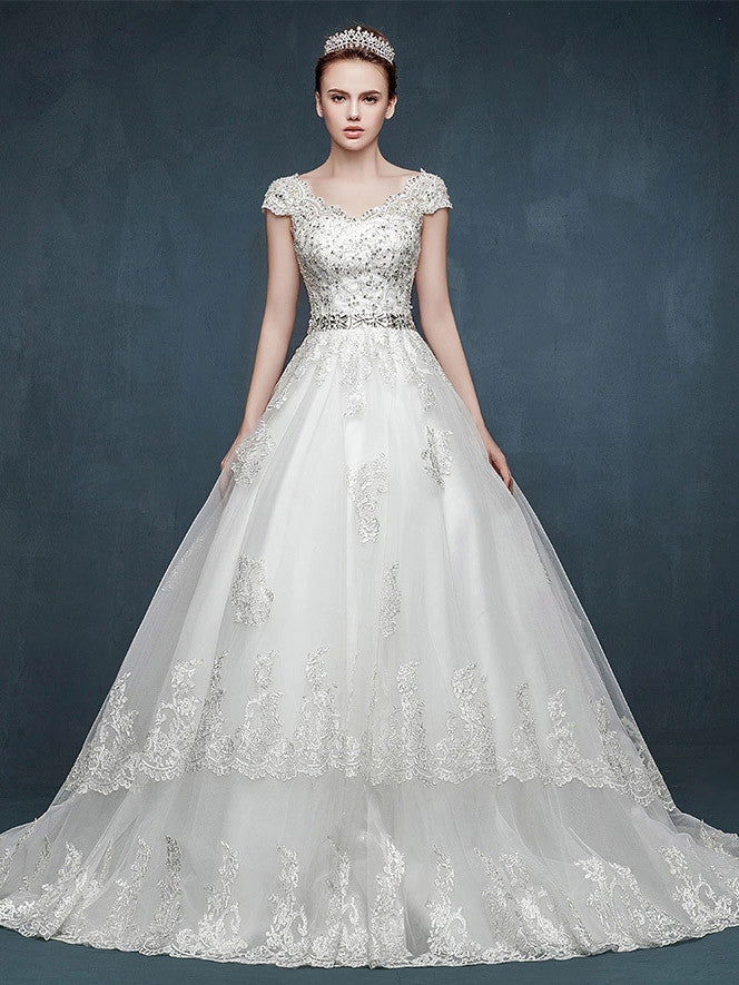 Cap Sleeves Lace A-line Wedding Dress with V Neck