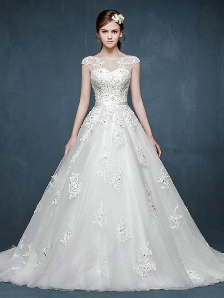 Cap Sleeves Lace A-line Wedding Dress with Illusion Neckline