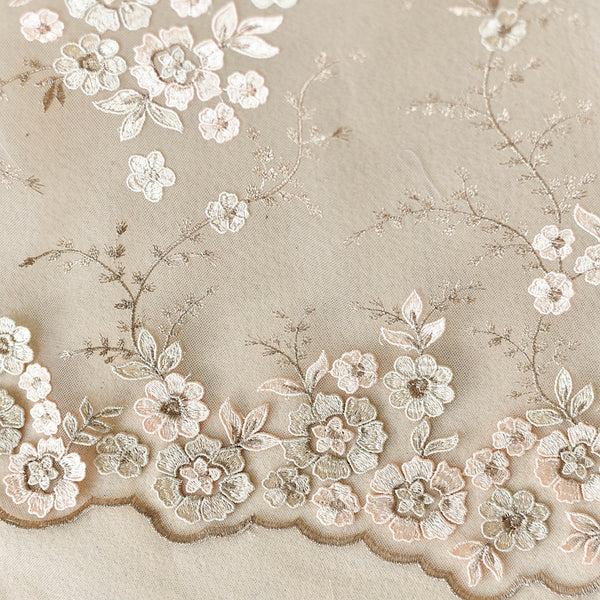Champagne Embroidered Floral Lace Fabric LC1002
