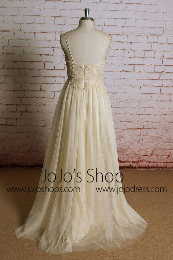 Champagne  Maternity Destination Wedding Dress Empire Waist Lace Wedding Dress | EE3003